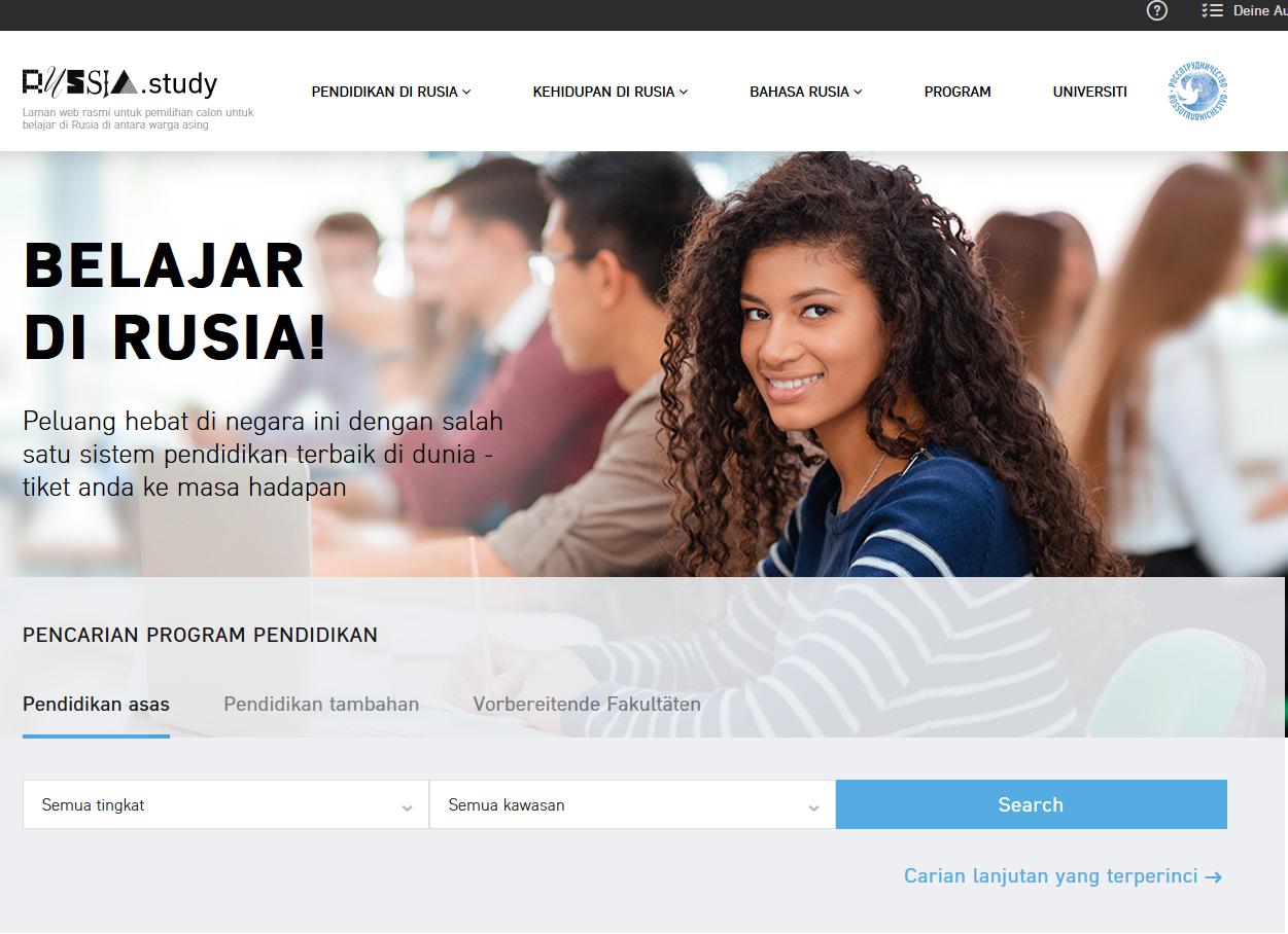 Official website for foreign nationals to study in Russia
